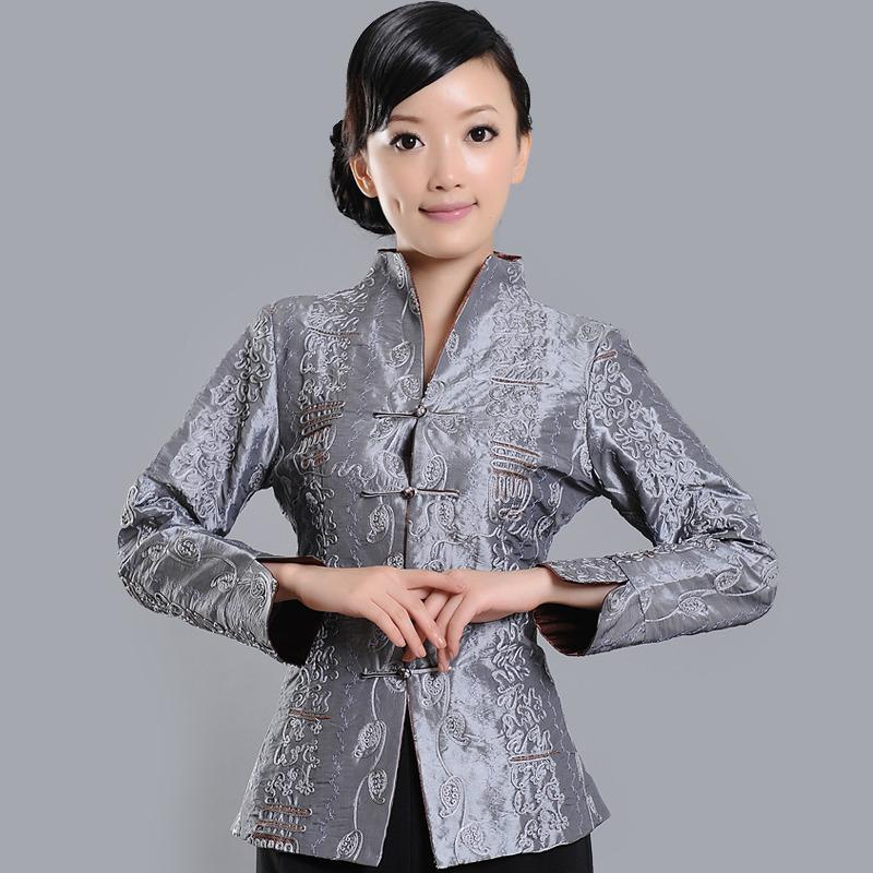 Super Fit Open Neck Frog Button Jacket - Silver