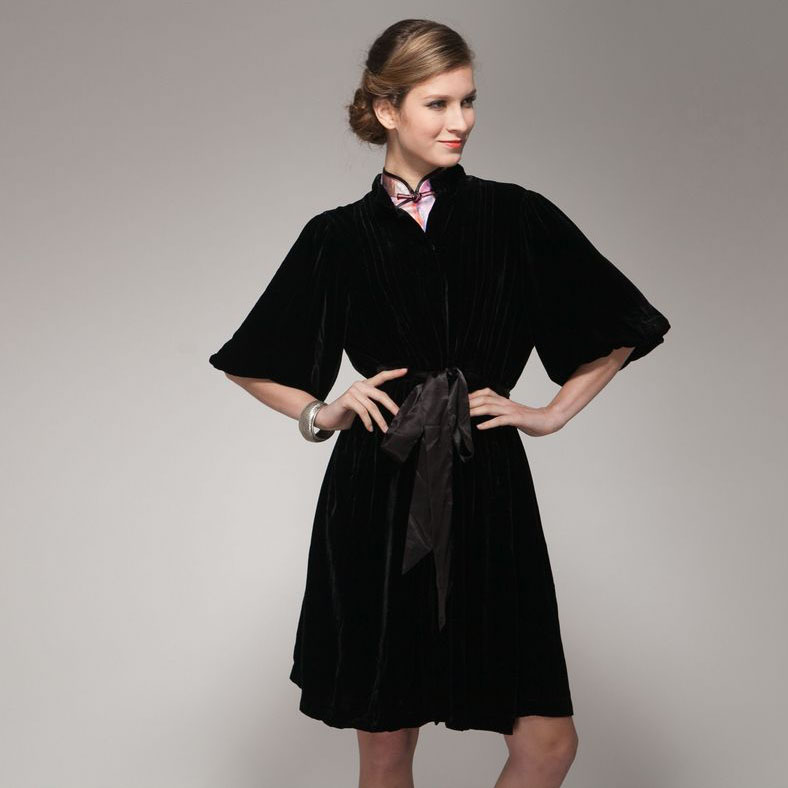 Mandarin Collar Black Velvet Long Jacket Chinese Jackets Coats