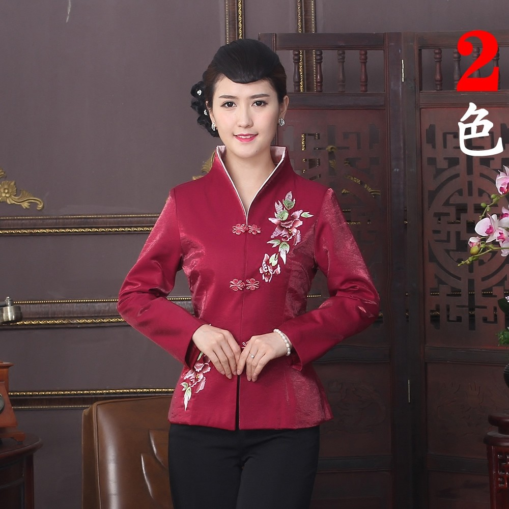 Exquisite Embroidery Open Neck Chinese Jacket - Red