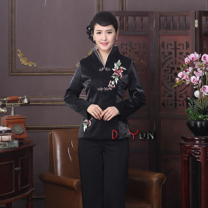Exquisite Embroidery Open Neck Chinese Jacket - Black
