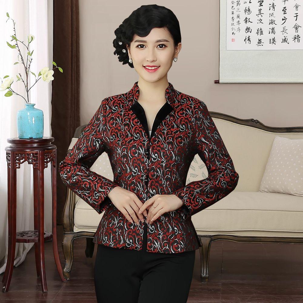 Attractive Jacquard Open Neck Mandarin Collar Jacket