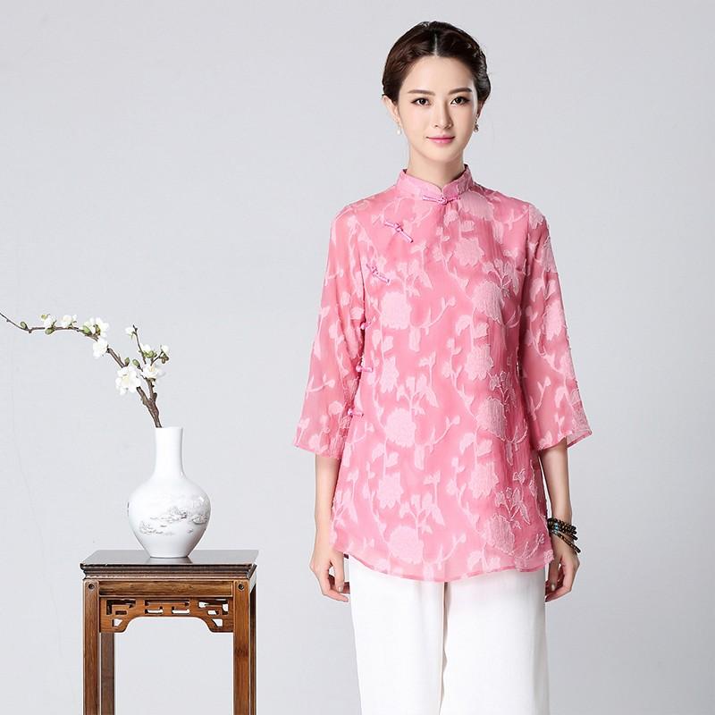 Charming Pink Chiffon Jacquard Qipao Cheongsam Blouse