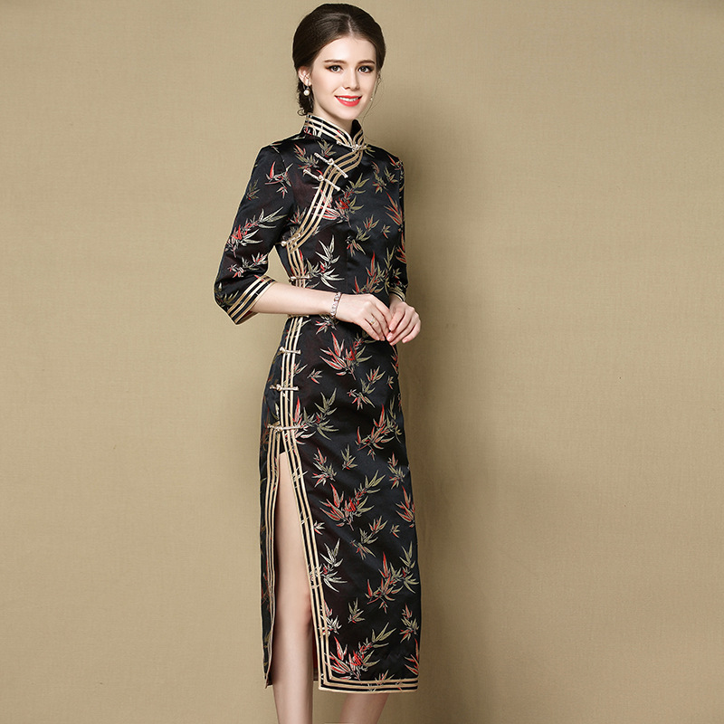 Adorable Bamboo Leaves Brocade Qipao Cheongsam Dress