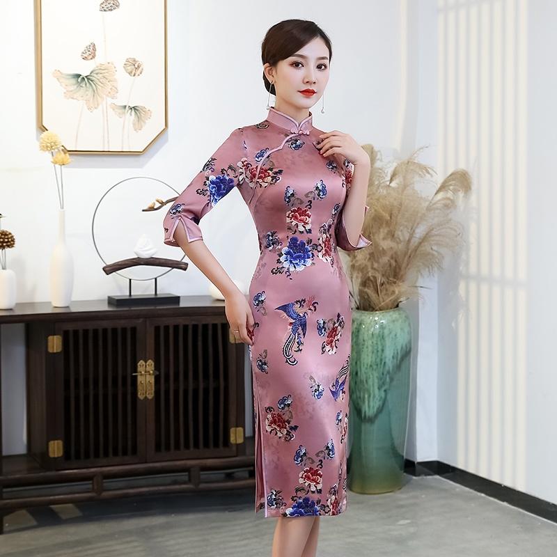 Gorgeous Phoenix Print Silk Cheongsam Qipao Dress