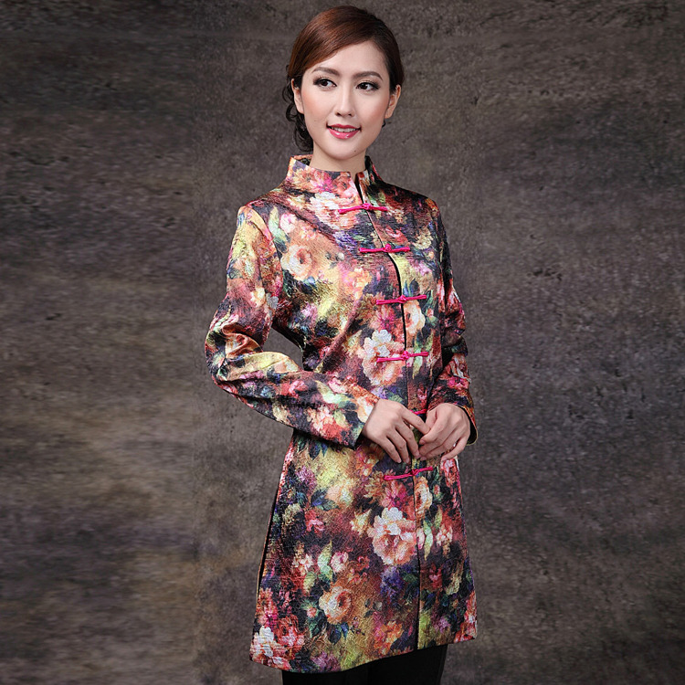 Captivating Floral Print Chinese Tang Jacket - Pink