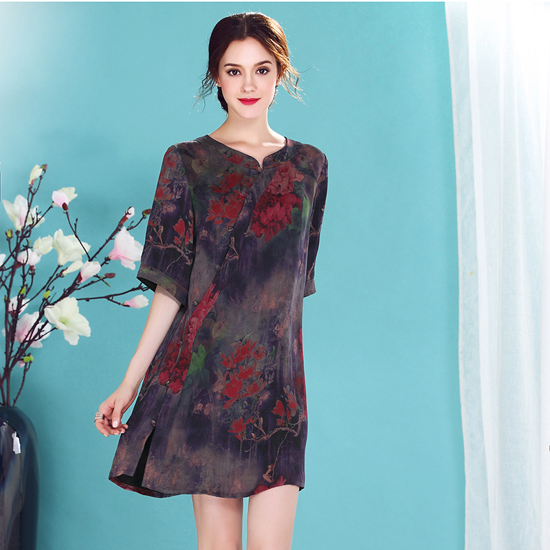 Lovely Ink Print Scoop Neck Silk Cheongsam Qipao Dress