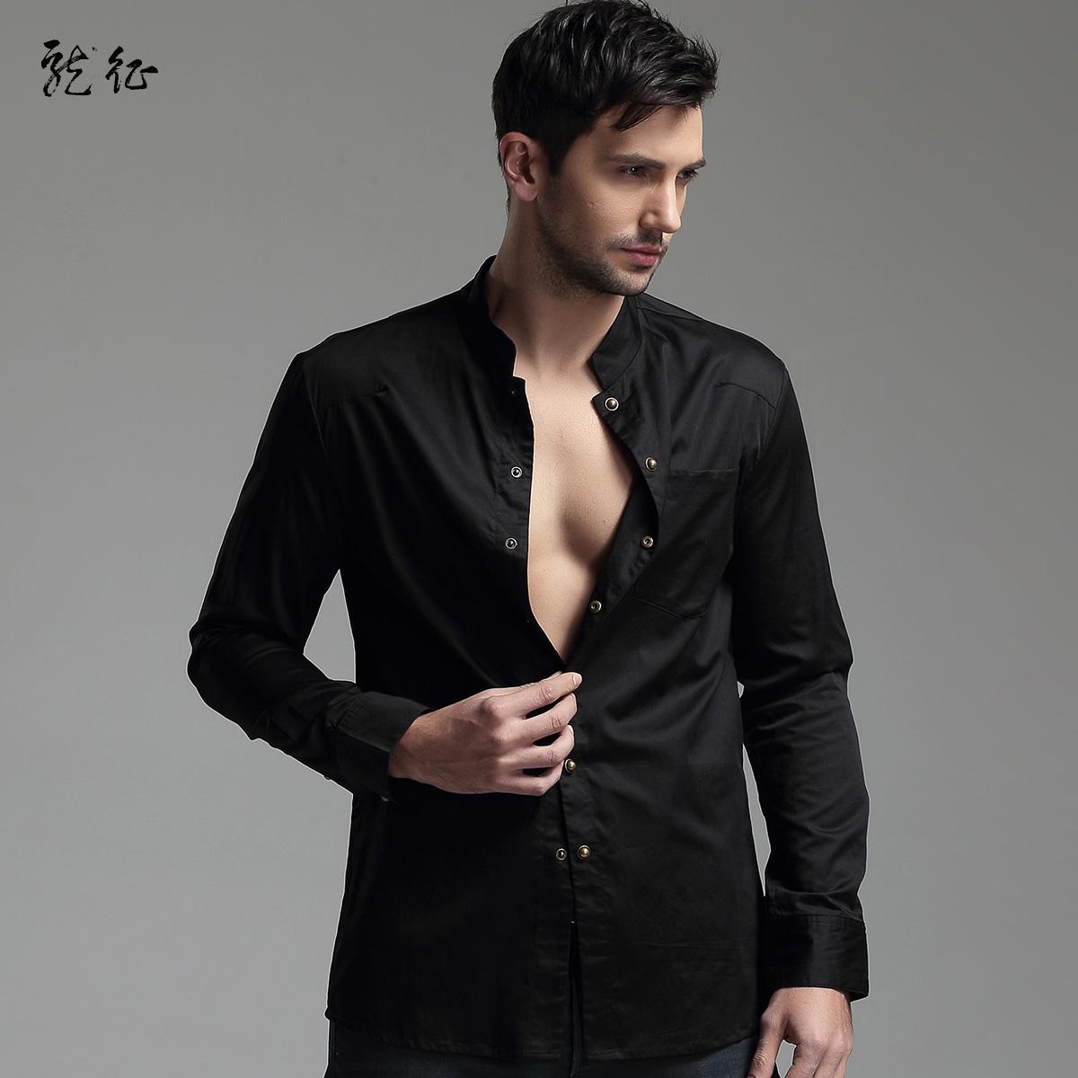 5dad00d06271c Modern Mandarin Collar Snap Button Shirt - Black - Chinese .