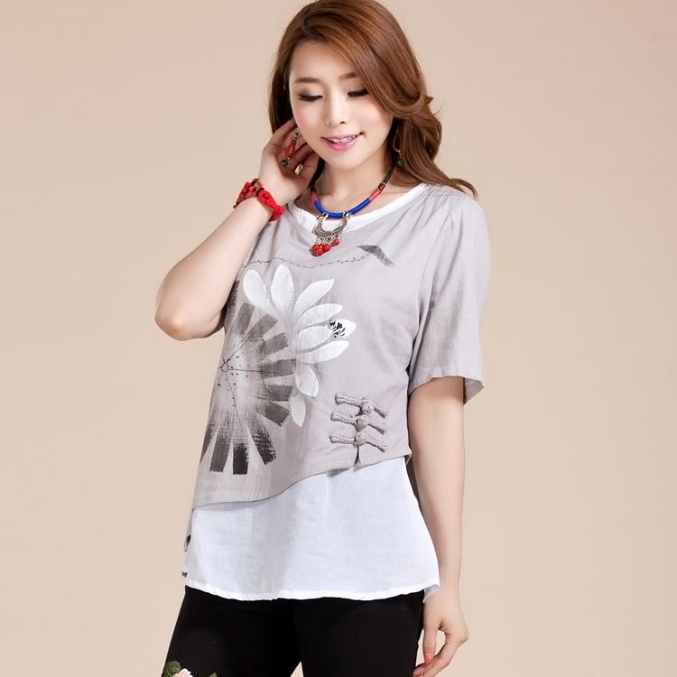 Attractive Lotus Paint Mandarin Style Blouse - Gray