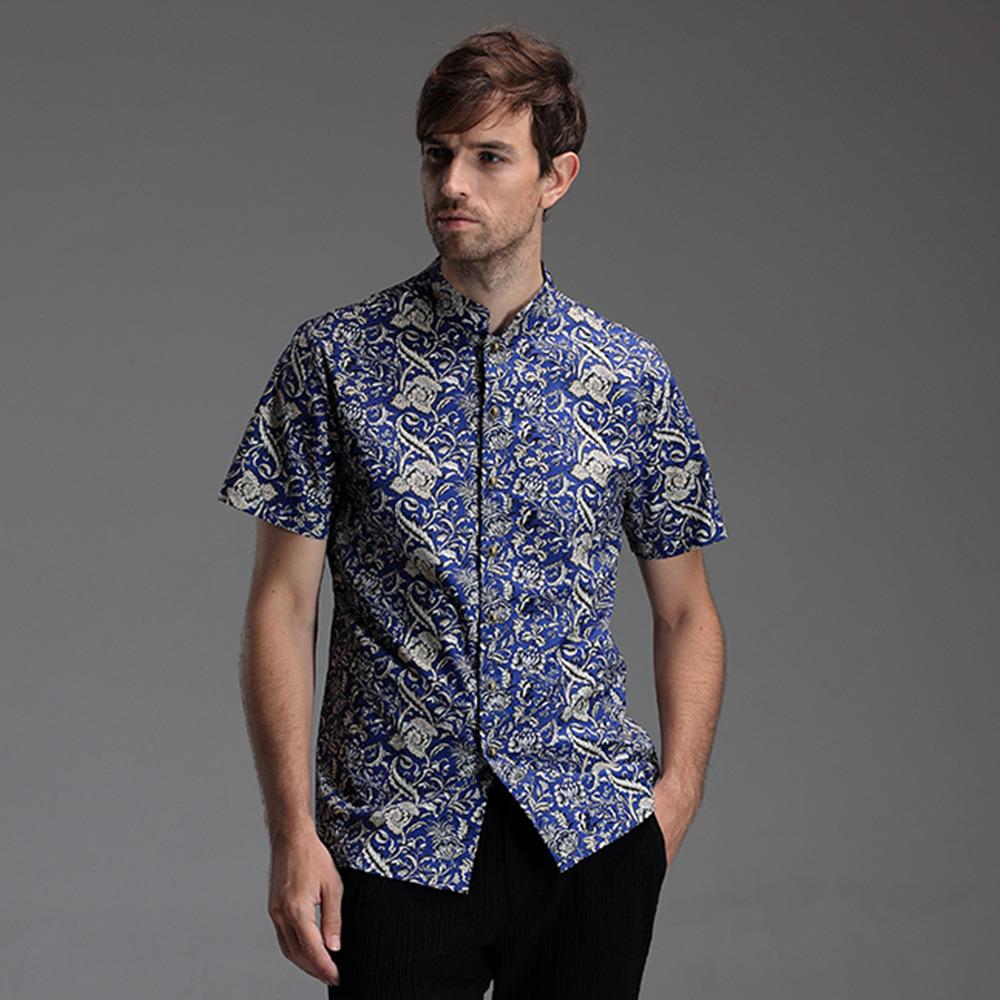 e4a7c0e02 Fabulous Pattern Mandarin Collar Shirt - Dark Blue - Chinese Shirts ...