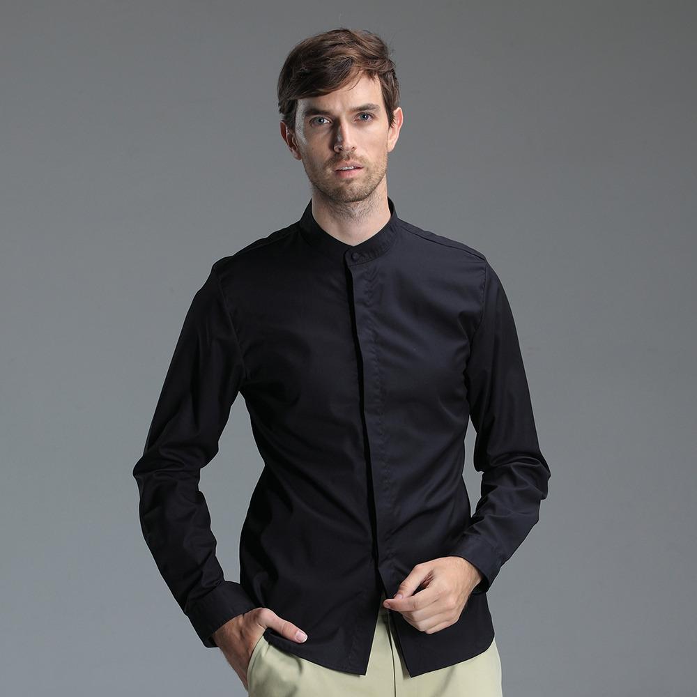 Mandarin Collar Hidden Button Non Iron Shirt Black