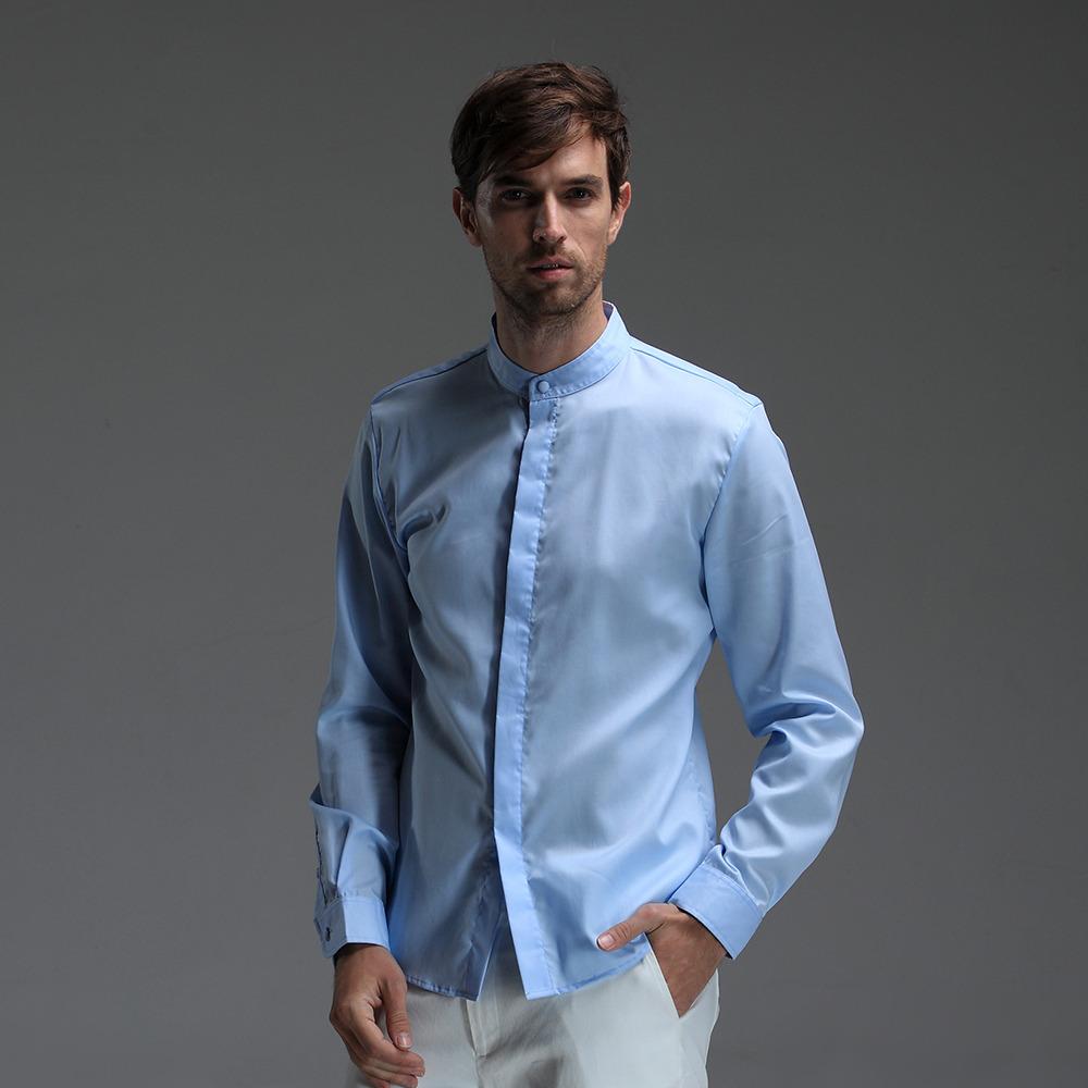 Mandarin collar hidden button non iron shirt light blue for Men s no iron dress shirts
