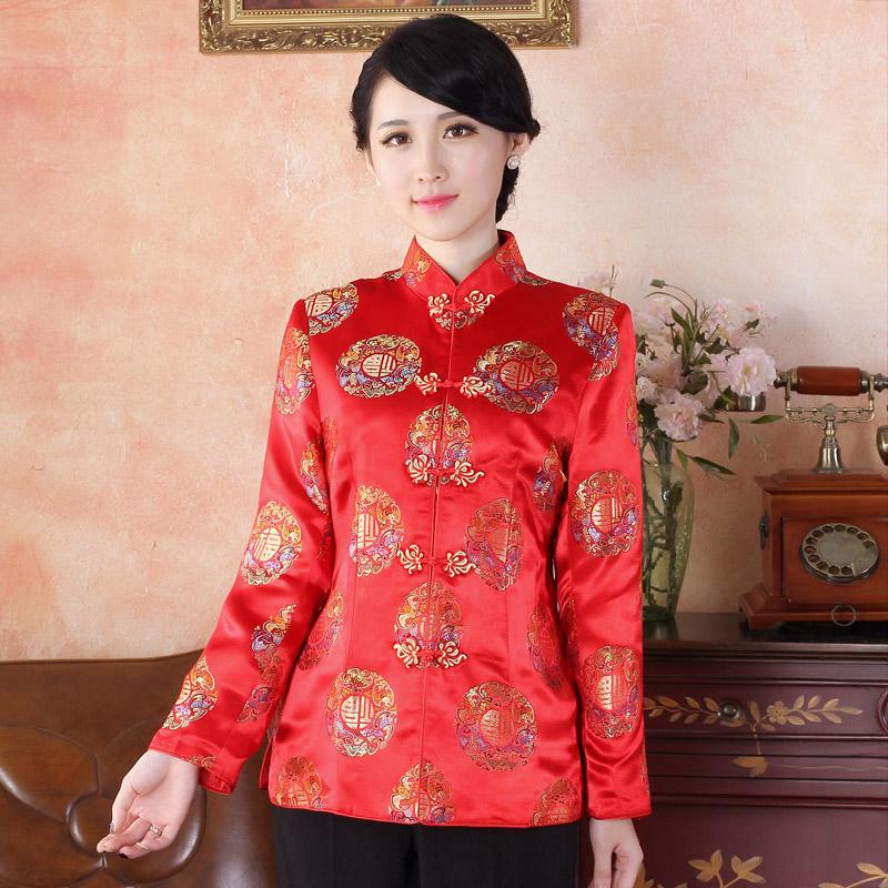 Adorable Brocade Traditional Tang Jacket - FU Red