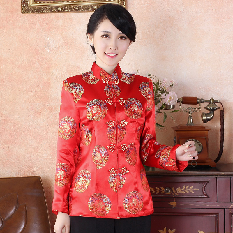 7d8259bf2 Adorable Brocade Traditional Tang Jacket - SHOU Red - Chinese ...