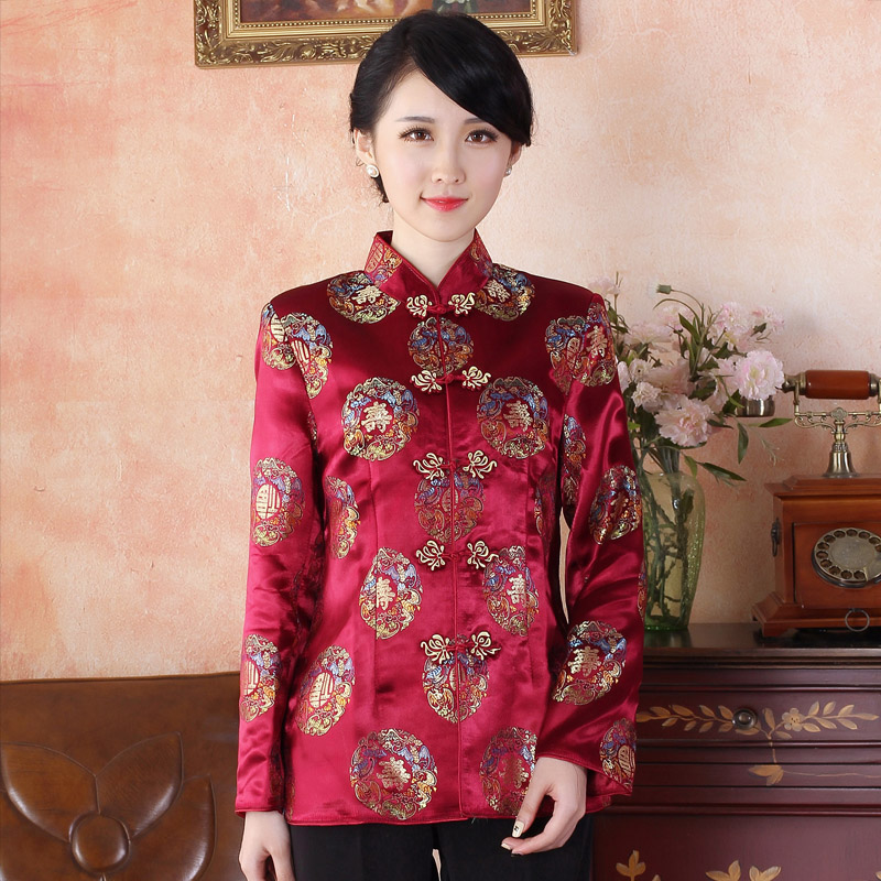 Adorable Brocade Traditional Tang Jacket - SHOU Claret