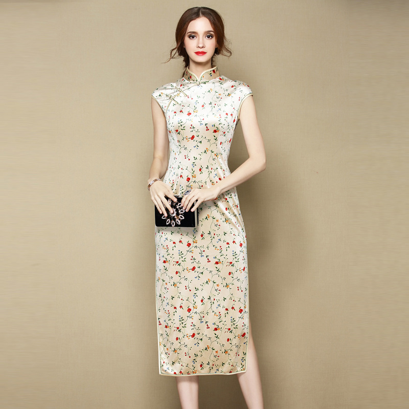 Charming Thin Velvet Cheongsam Qipao Dress - Mid-Calf