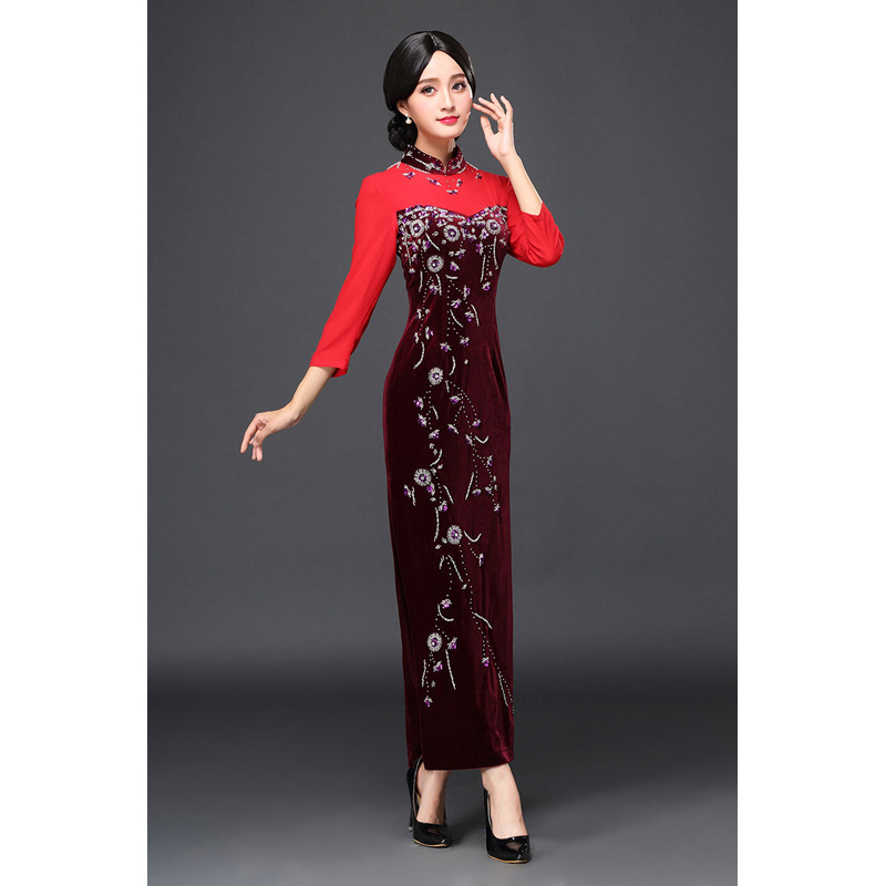 Charming Beaded Velvet Qipao Cheongsam Dress - Claret