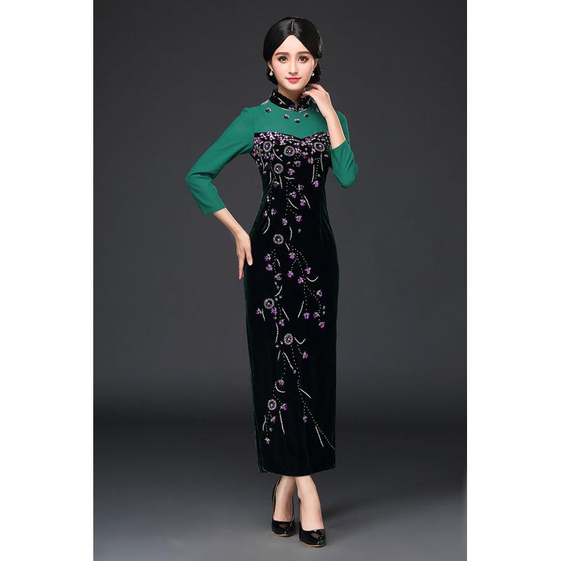 Charming Beaded Velvet Qipao Cheongsam Dress - Green