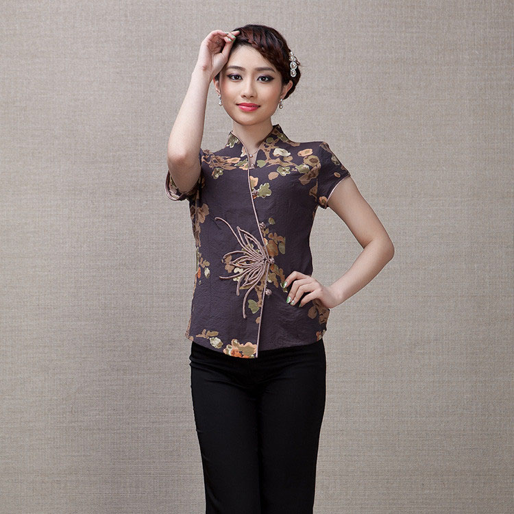 Elegant Frog Button Open Neck Chinese Shirt - Brown