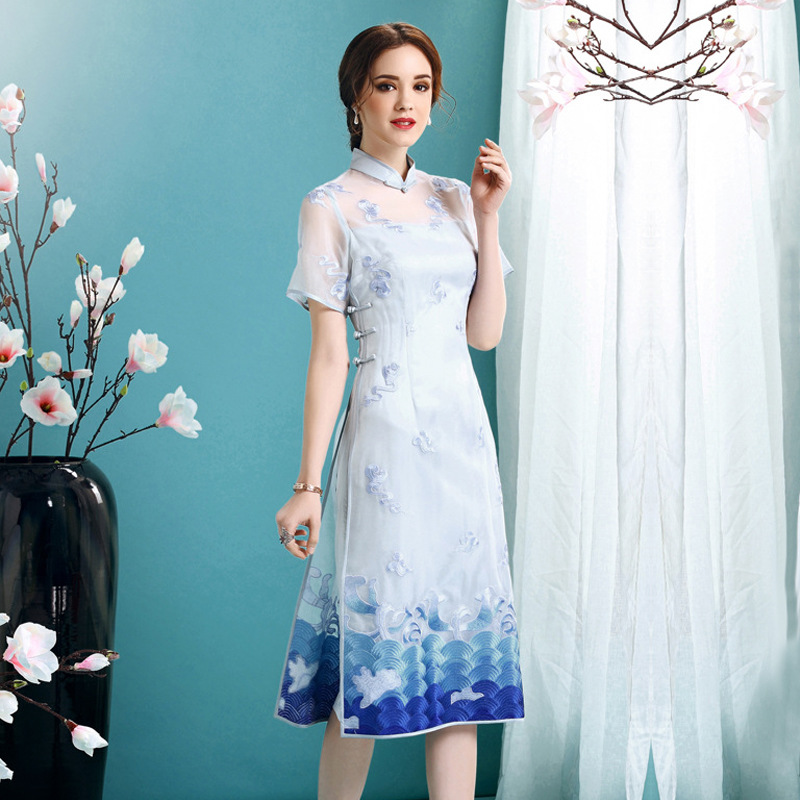 Pleasant Embroidery Silk Qipao Cheongsam Dress