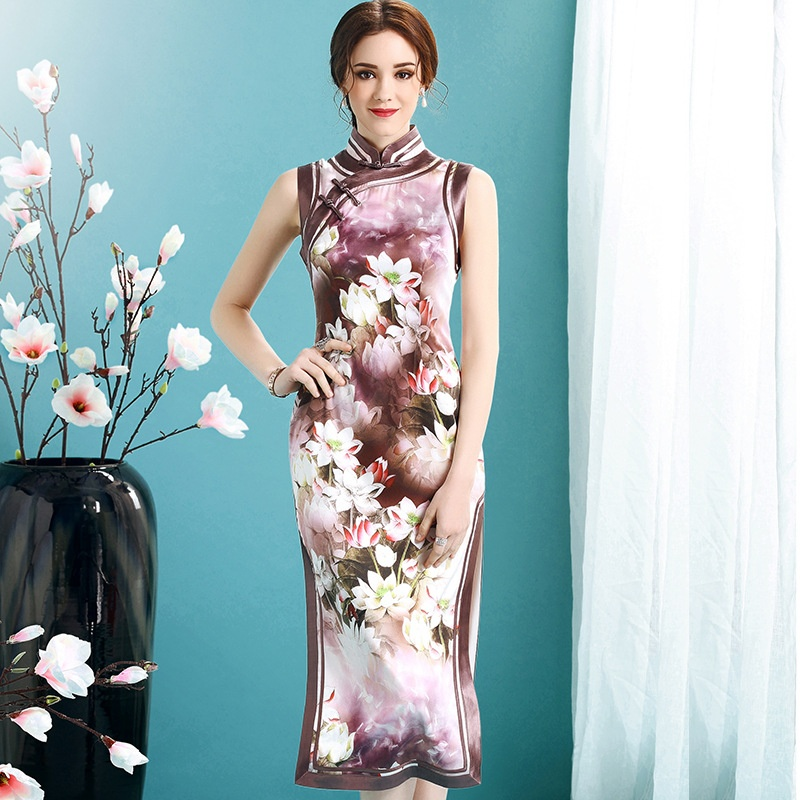 Gorgeous Floral Print Silk Qipao Cheongsam Dress