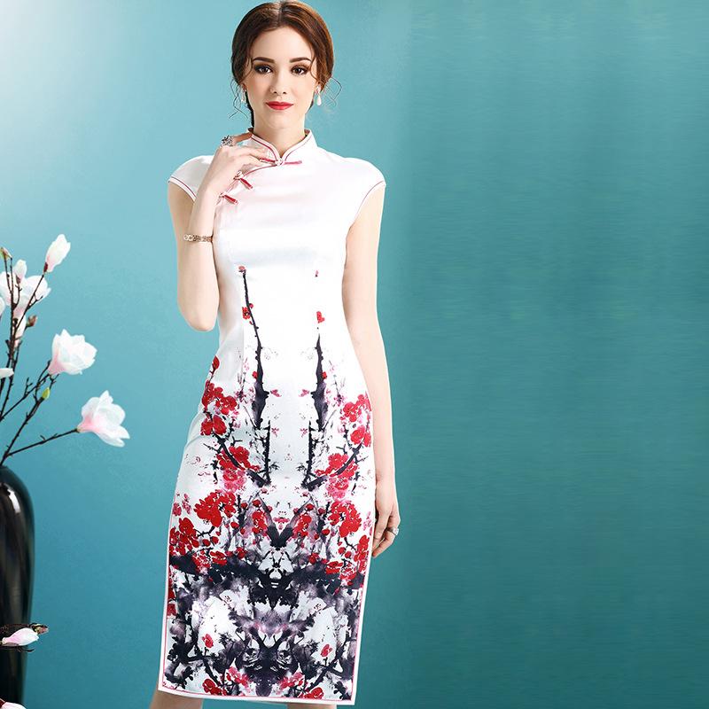 Appealing Blossom Tree Print Qipao Cheongsam Dress