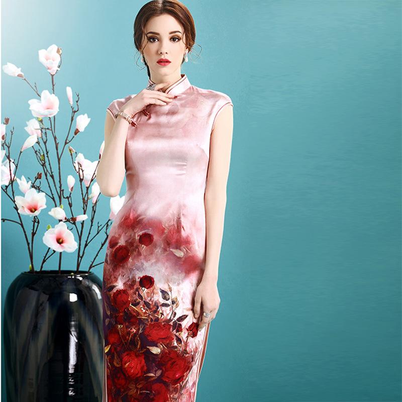 Impressive Rose Flowers Print Silk Qipao Cheongsam Dress