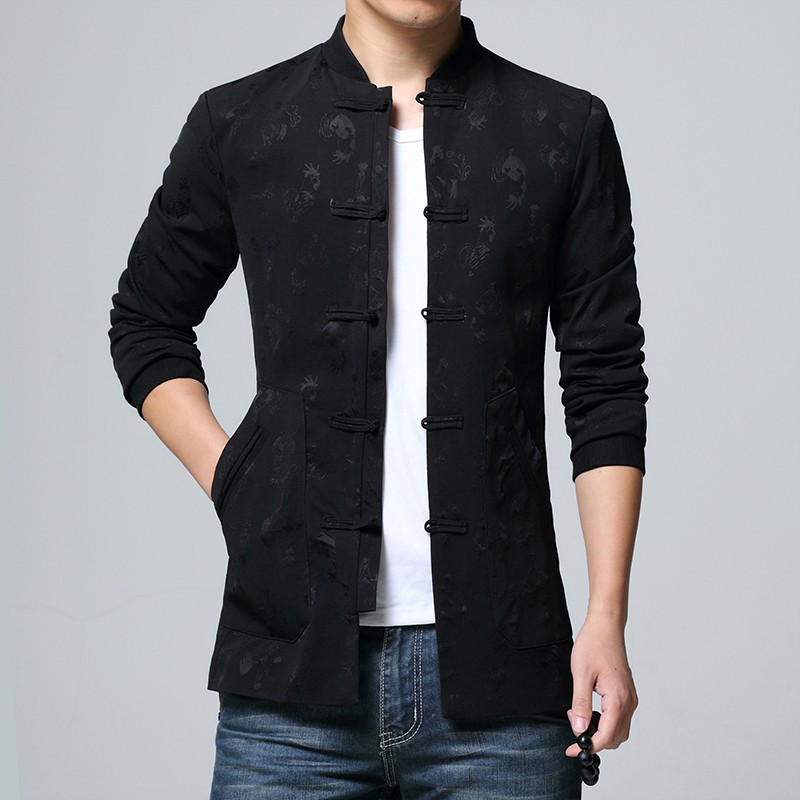 Gorgeous Modern Frog Button Black Chinese Tang Jacket