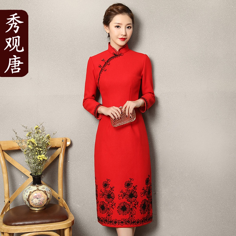 Fetching Back Zip Red Chinese Dress Cheongsam Qipao