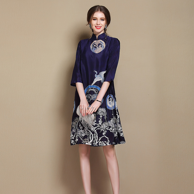 Wonderful Crane Print Silk Qipao Cheongsam Dress