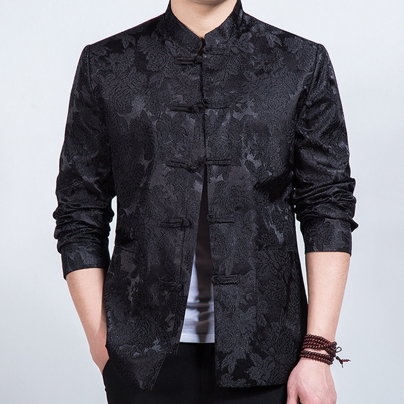 Charming Embroidery Frog Button Chinese Jacket - Black