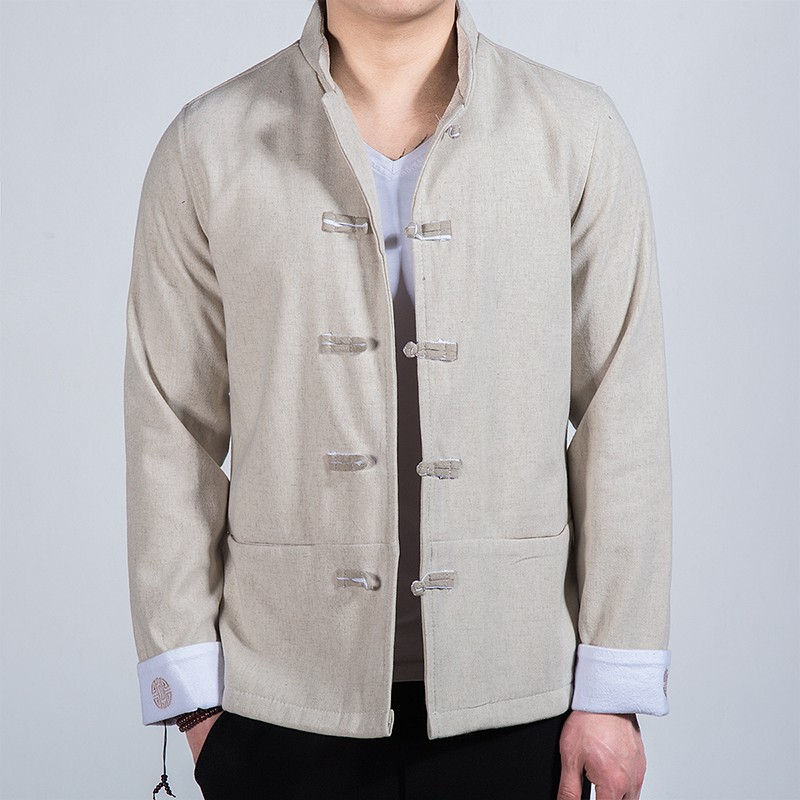 Delightful Five Frog Buttons Chinese Tang Jacket - Beige