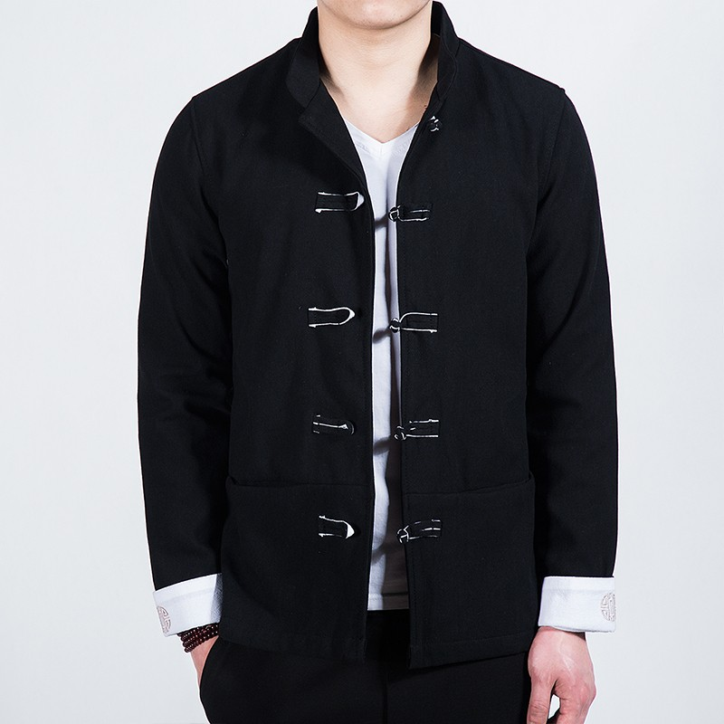 Delightful Five Frog Buttons Chinese Tang Jacket - Black