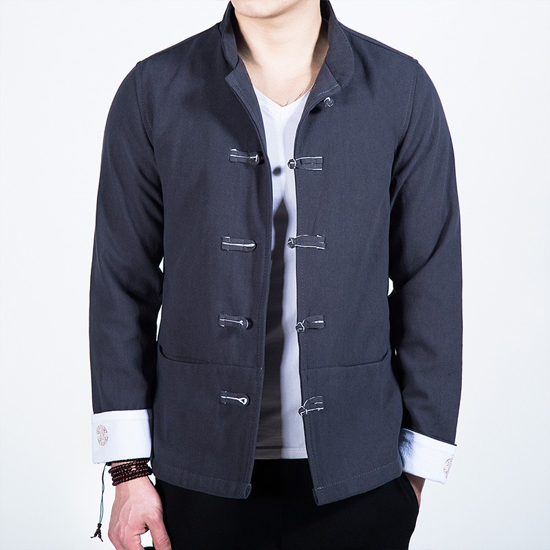 Delightful Five Frog Buttons Chinese Tang Jacket - Gray