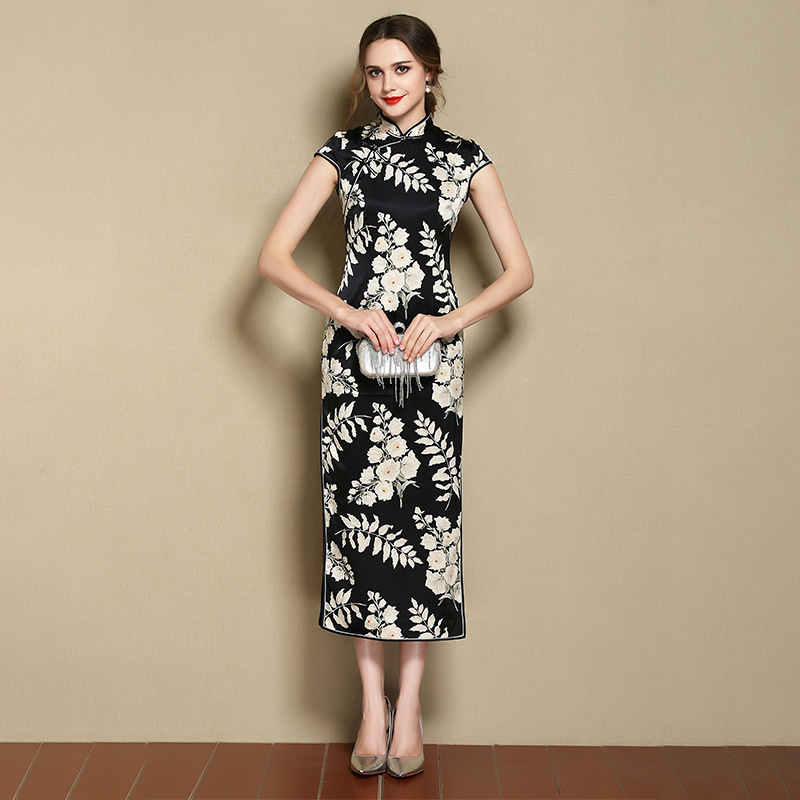 Nice Black And White Print Silk Cheongsam Qipao Dress