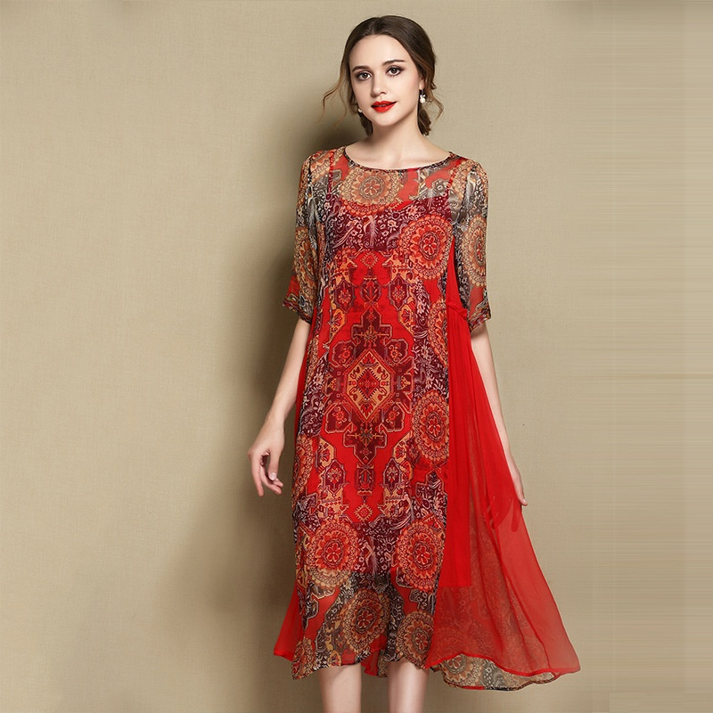 Delightful Paisley Pattern Silk Scoop Neck Dress