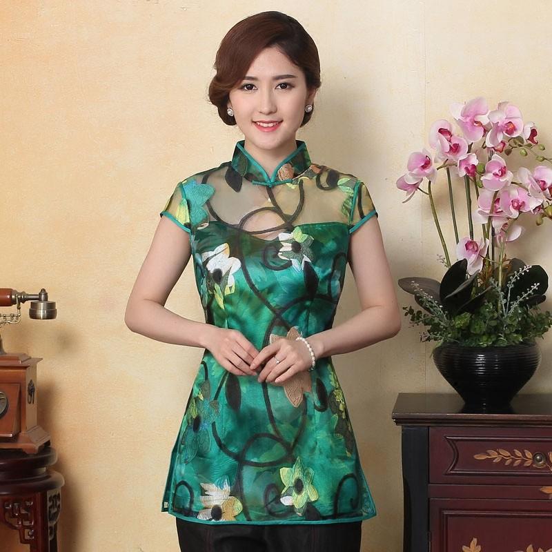 Fetching Flowers Organza Qipao Cheongsam Shirt