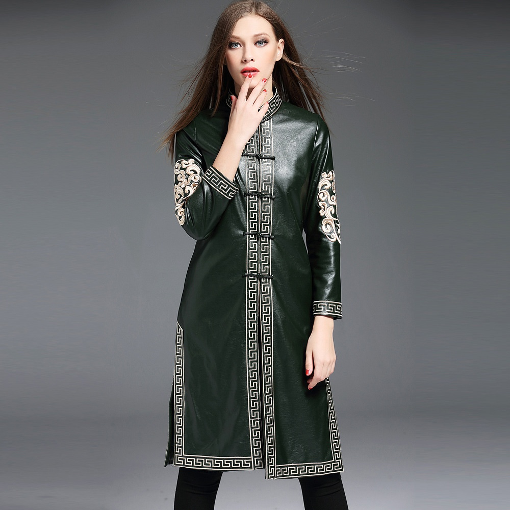 Pretty Embroidery Faux Leather Long Chinese Jacket