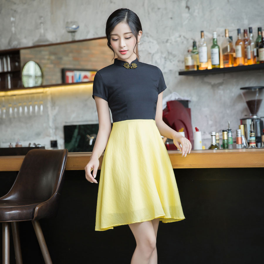 Black And Yellow Qipao Cheongsam A-line Skirt Dress