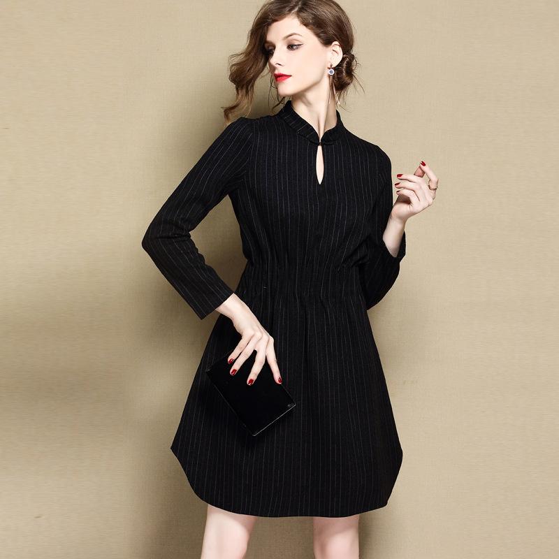 Appealing Black Modern Qipao Cheongsam Style Dress