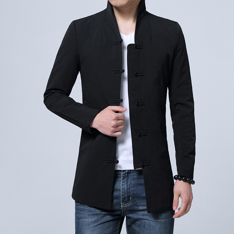 Appealing Frog Button Open Neck Chinese Jacket - Black