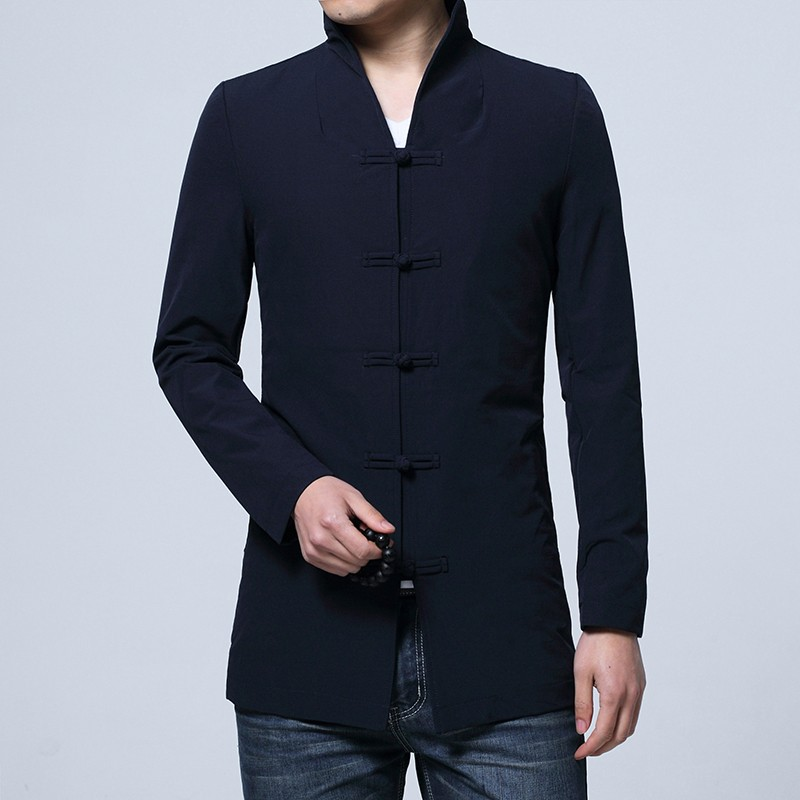 Appealing Frog Button Open Neck Chinese Jacket - Navy