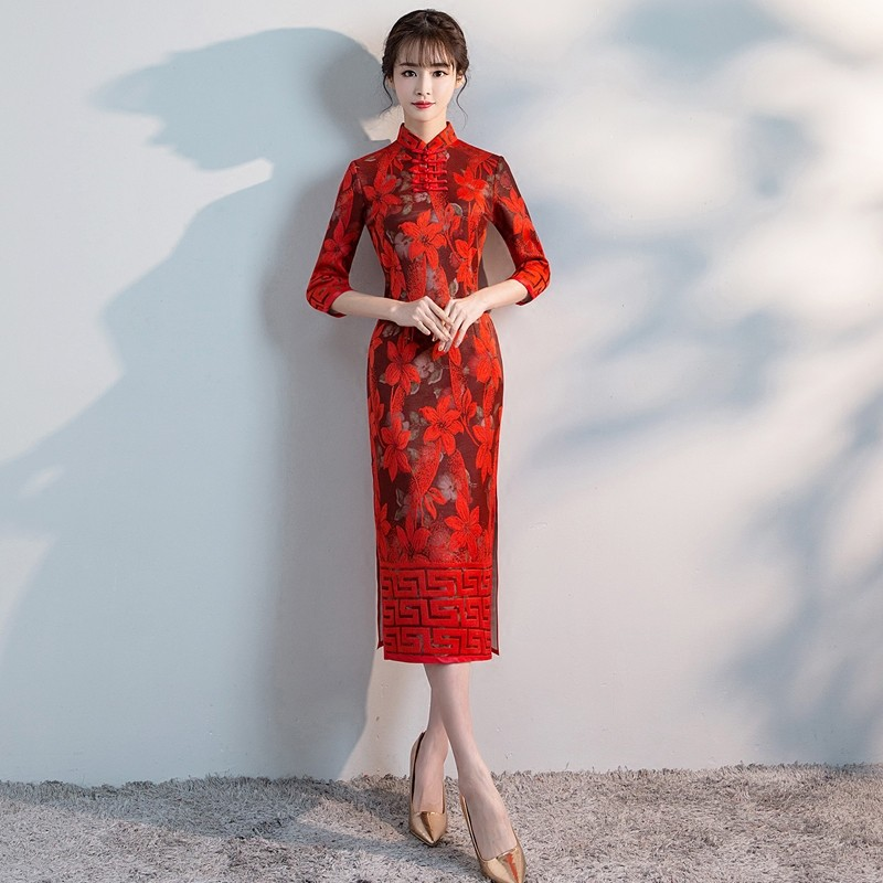Pleasant Embroidery Lace Qipao Cheongsam Dress - Red