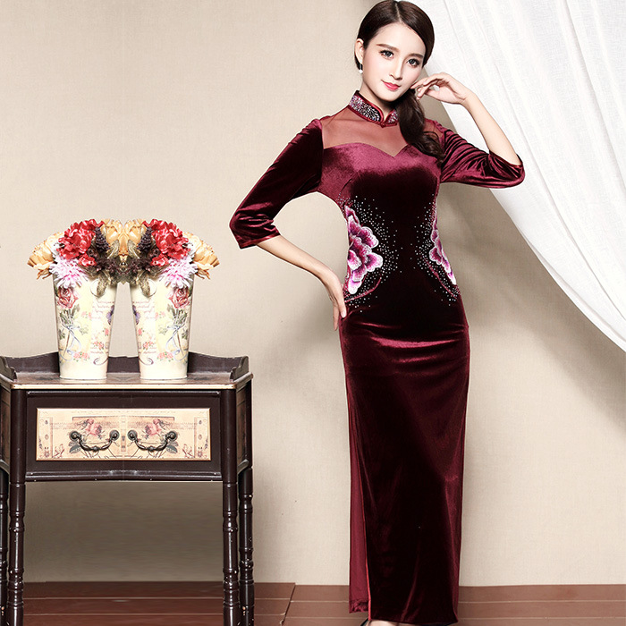 Wonderful Embroidery Velvet Cheongsam Qipao Dress - Claret