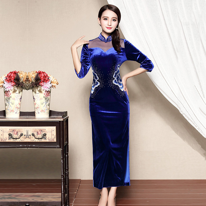 Wonderful Embroidery Velvet Cheongsam Qipao Dress - Blue