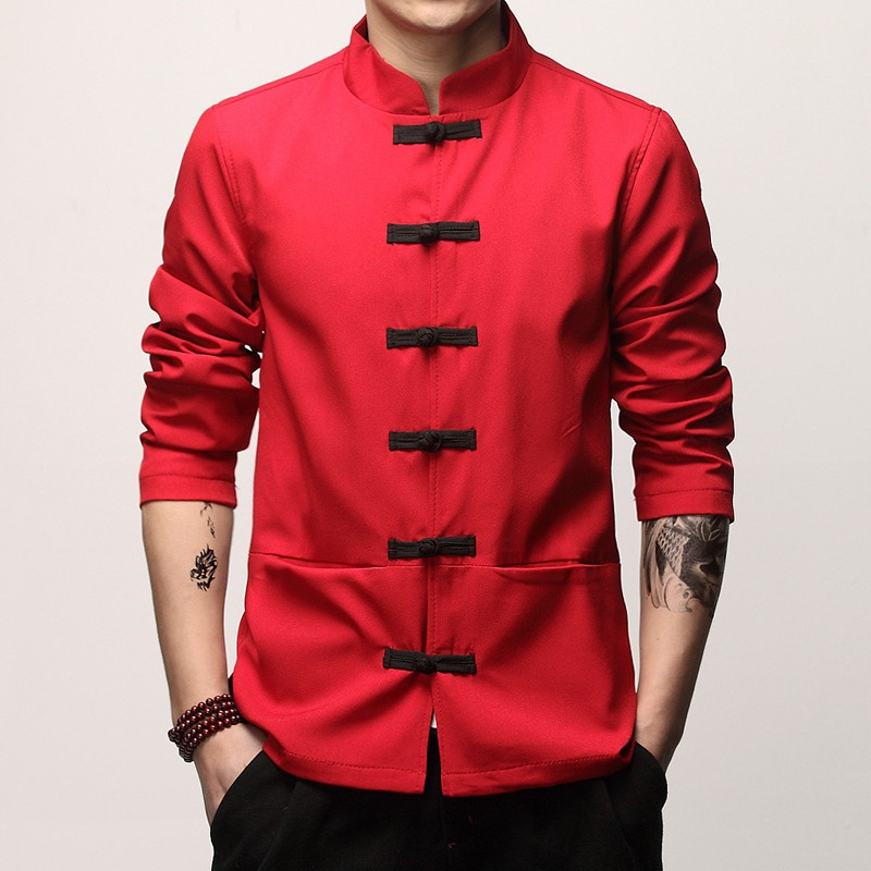 Enchanting Frog Button Chinese Tang Jacket - Red