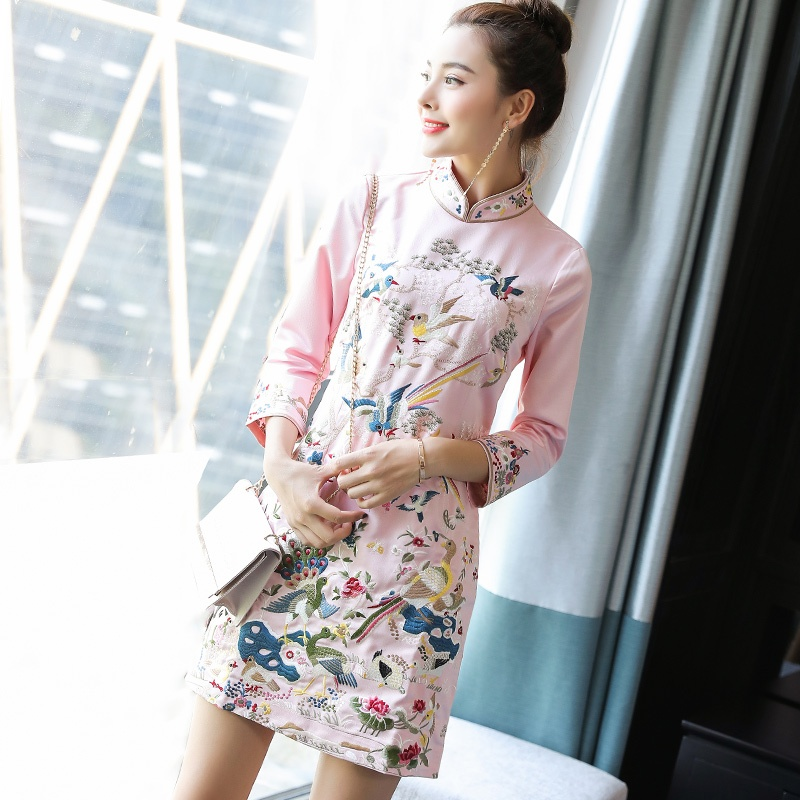 Happy Birds Embroidery Chinese Dress Qipao Cheongsam