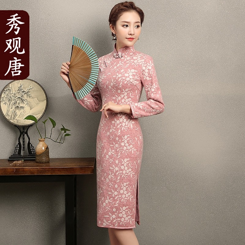 Pleasing Small Flowers Qipao Chinese Dress Cheongsam
