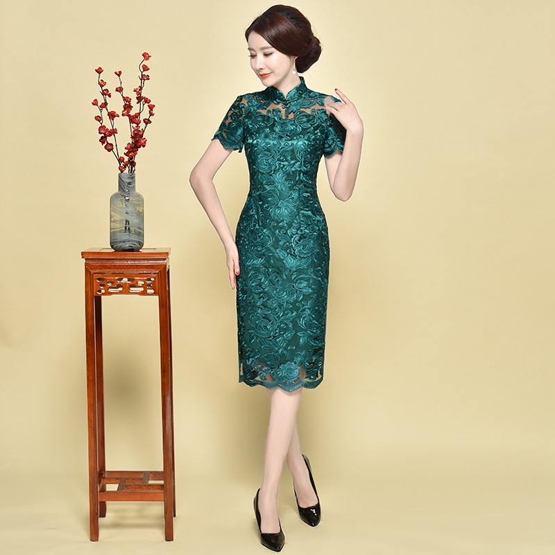 Excellent Green Floral Lace Chinese Dress Qipao Cheongsam