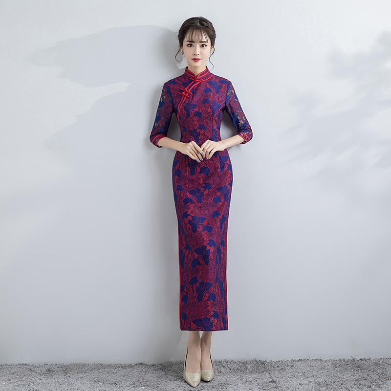 Blue Butterflies Lace LongQipao Cheongsam Chinese Dress
