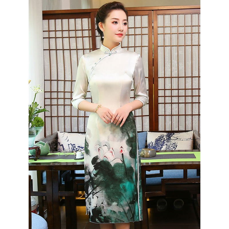 Attractive Lotus Print Cheongsam Qipao Chinese Dress
